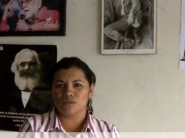 Estela Marina Ramirez from the SITRASACOSI maquila workers union salutes CISPES!